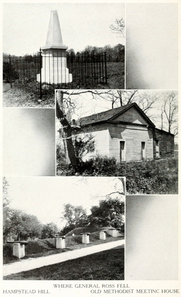 "[Photographs of monument ""Where General Ross Fell,""  Hampstead Hill, and the Old Methodist Meeting House]"