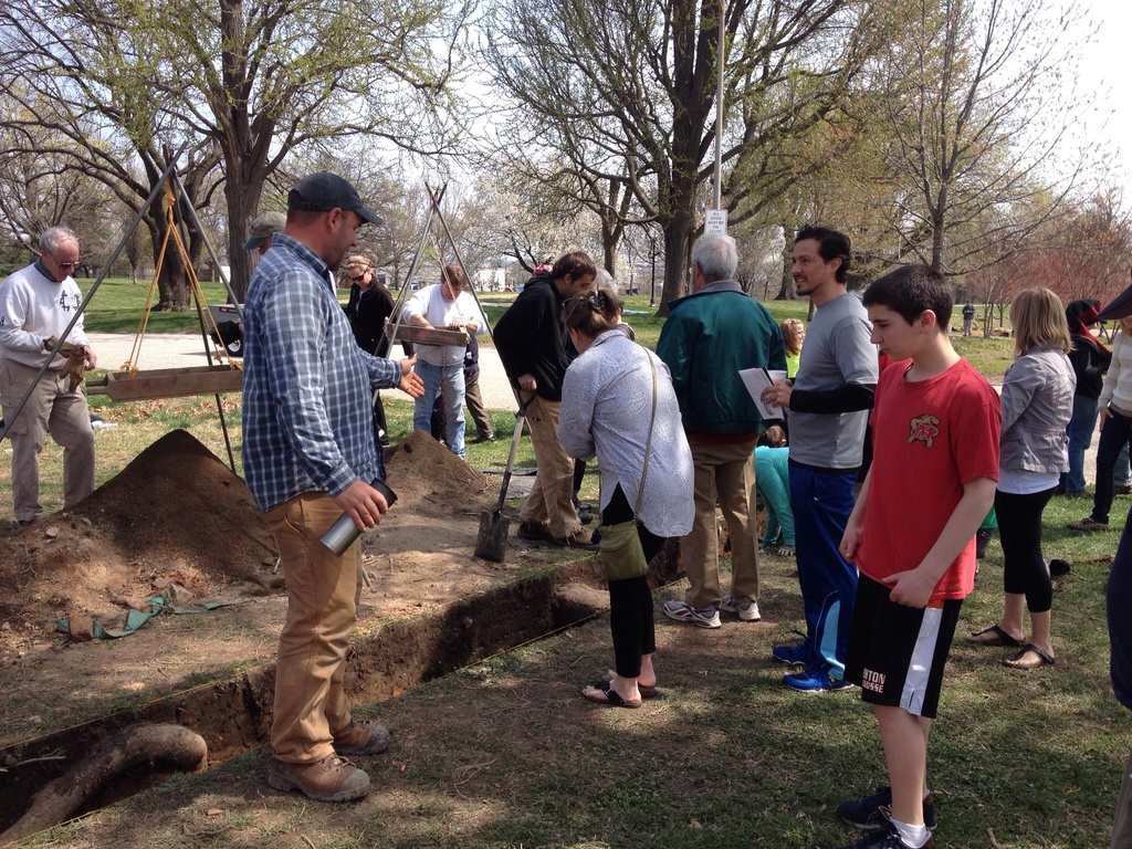 Archaeologist Jason Shellenhamer with tour group, Patterson Park
