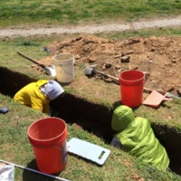 Volunteers excavating a trench, Patterson Park