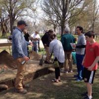 Archaeologist Jason Shellenhamer with tour group, Patterson Park